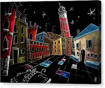Campo Sant'angelo - Fine Art Venice Drawings Canvas Print by Arte Venezia