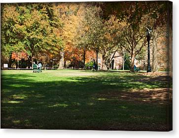 Campus Study Time - Davidson College Canvas Print by Paulette B Wright
