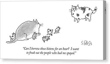 Can I Borrow Those Kittens For An Hour?  I Want Canvas Print by Sam Gross