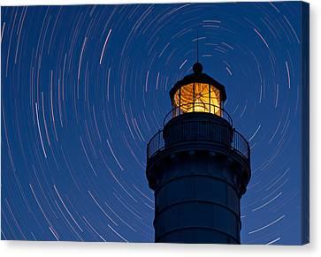Star Trails Canvas Print - Cana Island Lighthouse Solstice by Steve Gadomski
