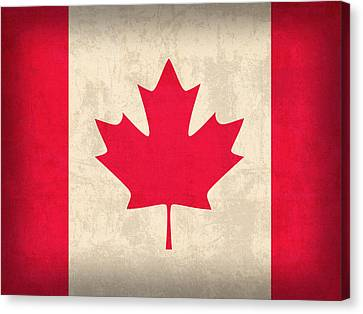 Canada Flag Vintage Distressed Finish Canvas Print by Design Turnpike