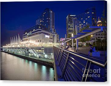 Vancouver At Night Canvas Print - Canada Place At Dusk by Terry Elniski