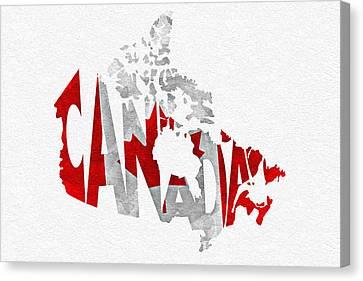 Canada Typographic Map Flag Canvas Print by Ayse Deniz