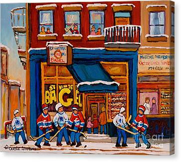 St.viateur Bagel Canvas Print - Canadian  Artists Paint Hockey And Montreal Streetscenes Over 500 Prints Available  by Carole Spandau
