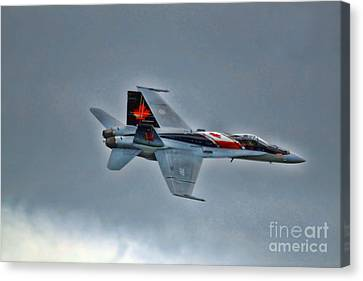 Canvas Print featuring the photograph Canadian Cf18 Hornet Fly By by Cathy  Beharriell