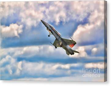 Canvas Print featuring the photograph Canadian Cf18 Hornet Taking Flight  by Cathy  Beharriell