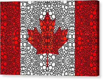 Canadian Flag - Canada Stone Rock'd Art By Sharon Cummings Canvas Print