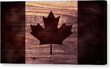 Aged Wood Canvas Print - Canadian Flag I by April Moen