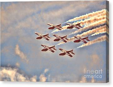 Canvas Print featuring the photograph Canadian Forces Snowbirds 2013 Upside Down Formation by Cathy  Beharriell