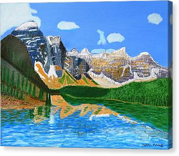 Canadian Mountains And Lake  Canvas Print