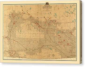 Canadian Mounted Police Map Canvas Print by Andrew Fare