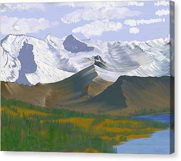 Canvas Print featuring the digital art Canadian Rockies by Terry Frederick