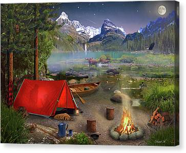 Canadian Wilderness Trip Canvas Print by David M ( Maclean )