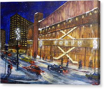 Canadiens Hockey At Montreal Forum Canvas Print by Brent Arlitt