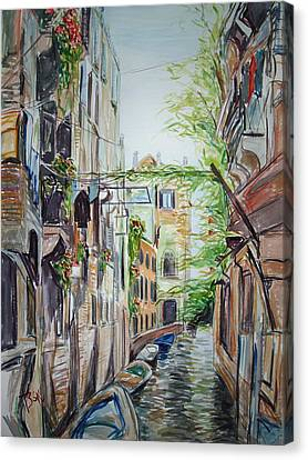 Canvas Print featuring the painting Canal 2 by Becky Kim