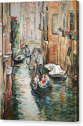 Canvas Print featuring the painting Canal 3 Row A Boat by Becky Kim