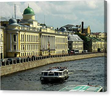 Canal And Historic Buildings Saint Petersburg Russia Canvas Print by Robert Ford