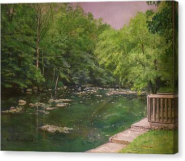 Canal At Prallsville Mills Canvas Print by Aurelia Nieves-Callwood