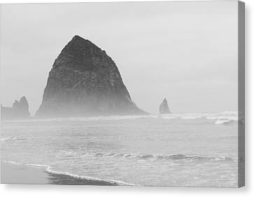 Canvas Print featuring the photograph Canal Beach Oregon Black And White by Robert  Moss