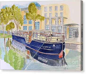 Canvas Print featuring the painting Canal Boat by Eva Ason