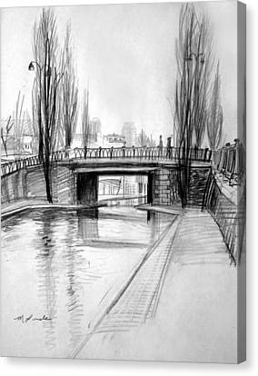 Canal Bridge In Paris Canvas Print