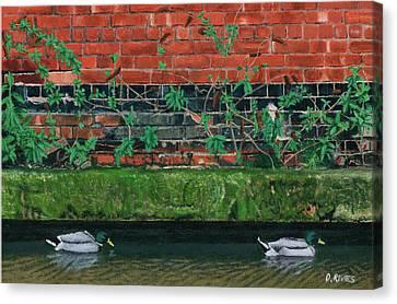 Canal Ducks Canvas Print