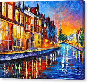 Canal In Amsterdam Canvas Print by Leonid Afremov