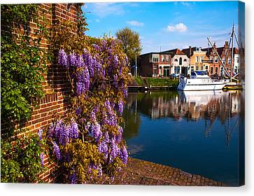 Canal In Brielle. Netherlands Canvas Print