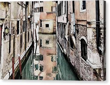 Canvas Print featuring the digital art Canal In Venice by Kai Saarto