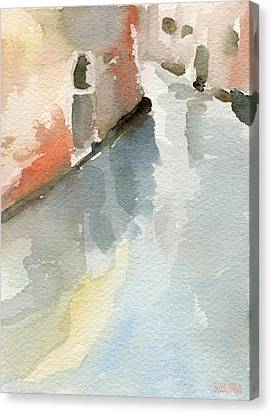 Canal Reflection Watercolor Painting Of Venice Italy Canvas Print by Beverly Brown
