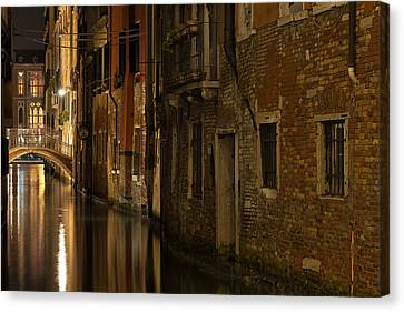 Canvas Print featuring the photograph Canal Reflections by Marion Galt