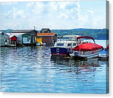 Canandaigua Fishing Shacks Canvas Print by Susan Savad