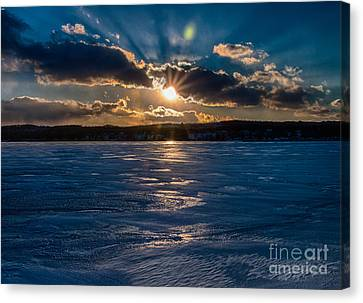 Finger Lakes Canvas Print - Canandaigua Lake In Winter by Steve Clough