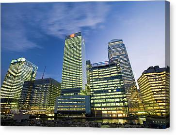 Canary Wharf In London Uk Canvas Print by Ashley Cooper
