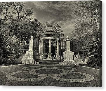 Cancer Survivors Plaza Black And White Canvas Print by Joshua House