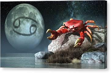 Cancer Zodiac Symbol Canvas Print by Daniel Eskridge