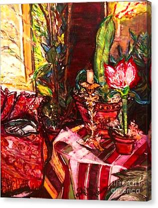 Canvas Print featuring the painting Candela by Helena Bebirian