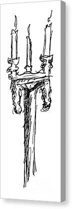 Lamp Post Canvas Print - Candelabrum Sketch by J M Lister