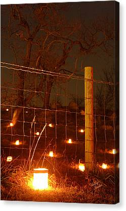 Canvas Print featuring the photograph Candle At Wire Fence 2 - 12 by Judi Quelland