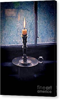 Candle Lit Canvas Print - Candle In The Window by Jill Battaglia