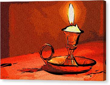 Canvas Print featuring the painting Candle Lamp by Tyler Robbins