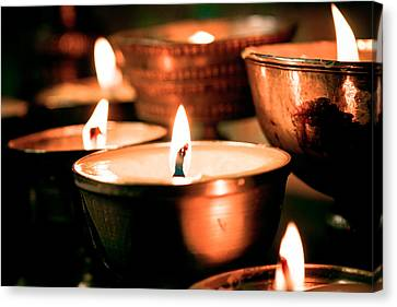 Milarepa Canvas Print - candle light ZUTHRUL PHUG MONASTERY Milarepas Cave by Raimond Klavins