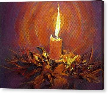 Canvas Print featuring the painting Candlelight by Jieming Wang