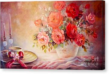 Candlelight Roses And Hat Canvas Print by Patricia Schneider Mitchell
