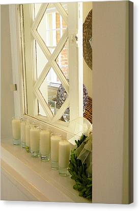 Candles And Wicker And Window Canvas Print by Jean Goodwin Brooks