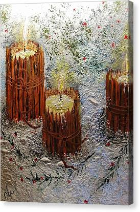 Canvas Print featuring the painting Candles In The Snow.. by Cristina Mihailescu