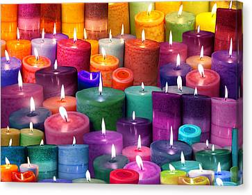 Candles Rainbow Colours Canvas Print by Alixandra Mullins