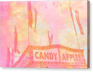 Candy Apples Carnival Festival Fair Stand  Canvas Print by Kathy Fornal