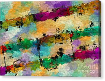 Canvas Print featuring the digital art Candy-coated Chords 1 by Lon Chaffin