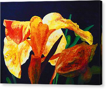 Canvas Print featuring the painting Canna Glow by Margaret Saheed
